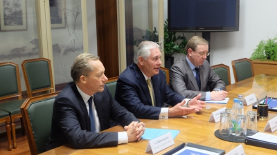18.03.2015 // The Russian Energy Minister Alexander Novak met with Rex Tillerson, the President of ExxonMobil and Glenn Waller, the head of the Russian division of the company
